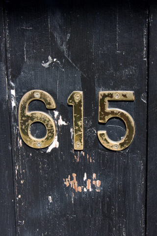 The address on a door in the French Quater.