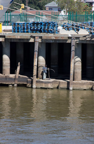 A man lands a fish under a wharf on the Mississippi river out side of New Orleans.