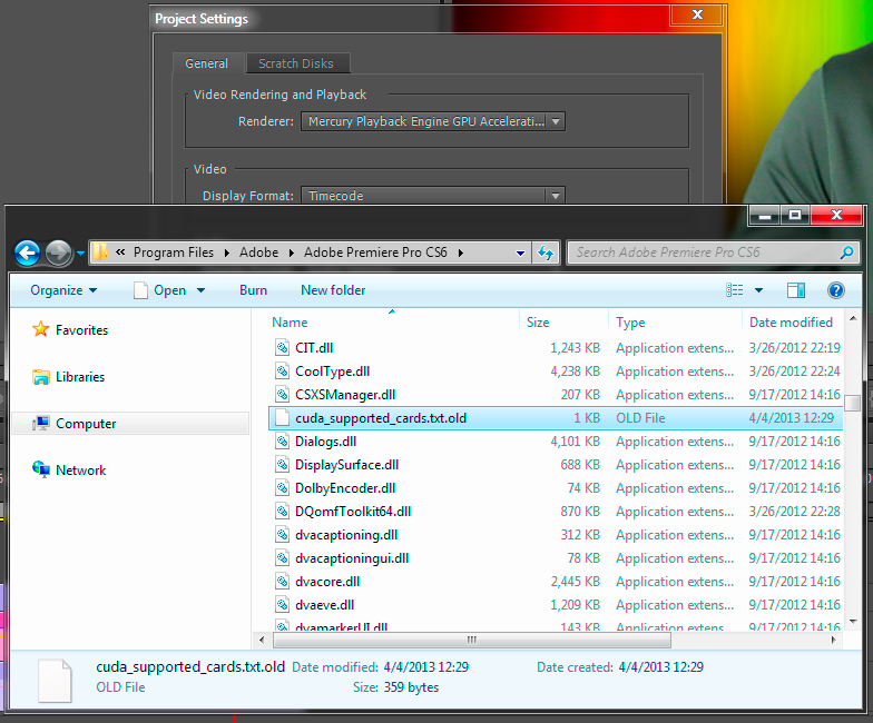 How do I Enable CUDA in Premier Pro CS6 without a Quadro? • Points