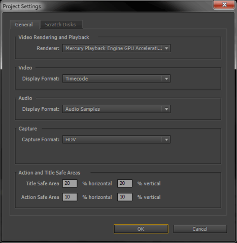 Premiere Pro project settings dialog.