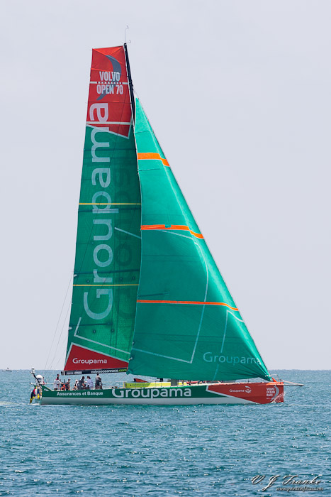 Under sail, the Groupama Sailing Team's entrant in the 2011-2012 Volvo Ocean Race, Groupama 4, sails in the Miami Pro-am race off Miami Beach's South Beach on May 18, 2012.