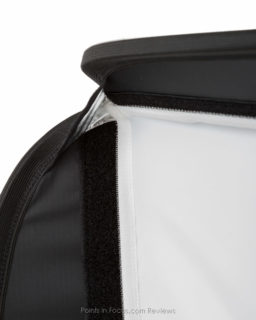 The front diffusion layer is attached with a Velcro so that the edge is completely sealed.