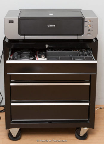 Printer Stand and camera storage all in an easy to move box.