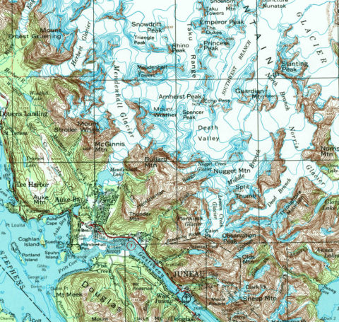 Topographic map of the Juneau area, Juneau Ice Field and Mendenhall Glacier.