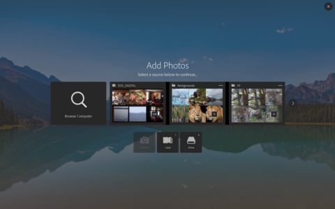 The new Add Photo screen, the first step in the new Lightroom import screen.