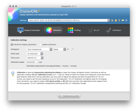 displaycal calibration screen
